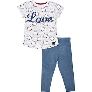 Mini girls love cat t-shirt and legging set