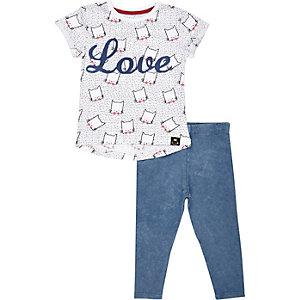 Mini girls love cat t-shirt and legging set