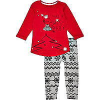 Mini girls red monkey t-shirt and leggings