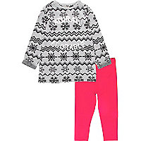 Mini girls grey fairisle dress and leggings