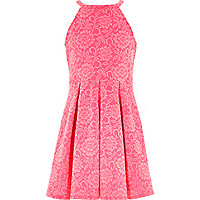 Girls pink floral flock prom dress