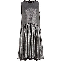 Girls black liquid metallic dress