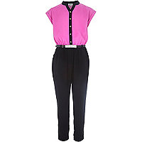 Girls pink grandad collar jumpsuit