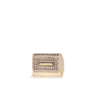 Girls pink lazer cut trifold purse