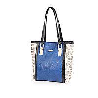 Girls blue lazer cut shopper bag