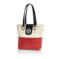 Girl red and cream RI shopper bag