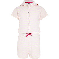 Girls pink pointelle pyjama playsuit