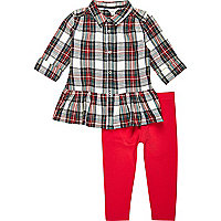 Mini girls red check shirt and leggings set