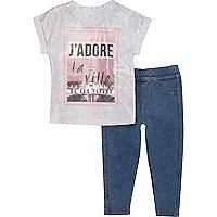 Mini girls j'adore t-shirt and leggings set