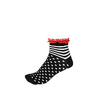 Girls black spot stripe frilly socks