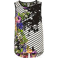 Girls black floral print split back top