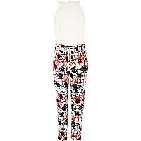 Girls cream floral check print jumpsuit