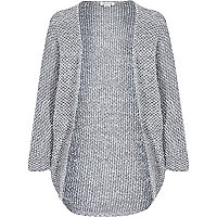 Girls grey boucle knit drape cardigan