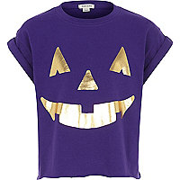 Girls purple pumpkin t-shirt