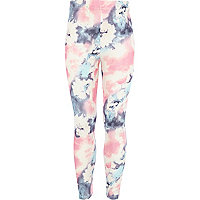 Girls pink cloud print leggings