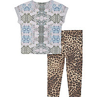 Mini girls leopard print t-shirt and leggings