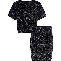 Girls navy glitter velvet top and skirt set