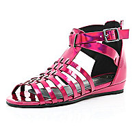 Girls pink metallic gladiator
