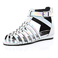 Girls silver metallic gladiator