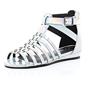 Girls silver metallic gladiator sandals