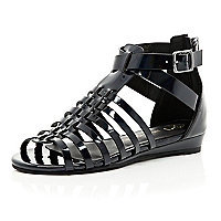 Girls black Pu gladiator