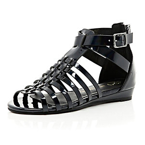 Girls black patent gladiator sandals