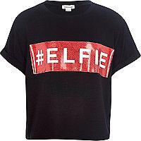 Girls black christmas elfie t-shirt