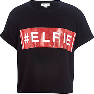 Girls black christmas elfie t-shirt