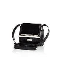 Girls black diamanté cross body bag