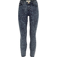Girls dark blue acid wash Molly jegging