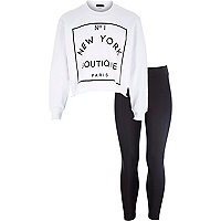 Girls white NY sweatshirt and leggings set