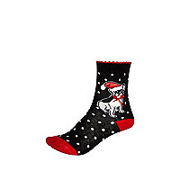 Girls black christmas dog socks