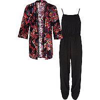 Girls black jumpsuit and kimono set
