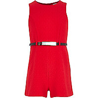 Girls red crepe playsuit