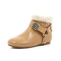 Mini girls tan gold trim faux fur boot
