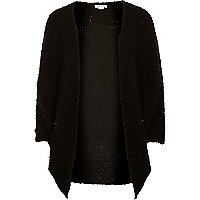 Girl black boucle knit cardigan