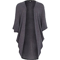 Girls grey draped 3/4 length sleeve cardigan