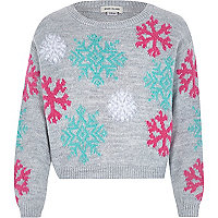 Girls grey snow flake jumper