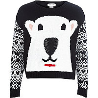 Girls black polar bear jumper