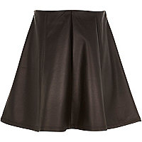 Girls black wetlook skirt