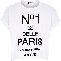 Girls white belle paris print t-shirt