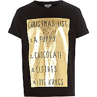 Girls black christmas list t-shirt
