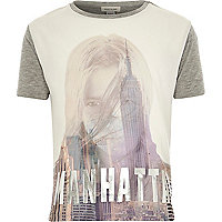 Girls grey Manhattan city girl t-shirt