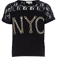 Girls black NYC chain lace top