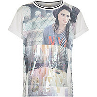 Girls white urban girl photo print t-shirt