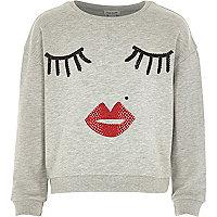 Girls grey studded eyelash face sweatshirt