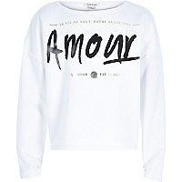 Girls white amour sweatshirt