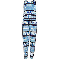 Girls blue sporty animal print jumpsuit