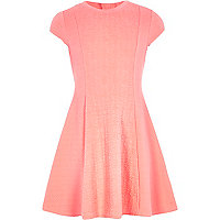 Girls coral cable textured dress
