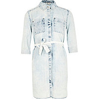 Girls light blue denim shirt dress